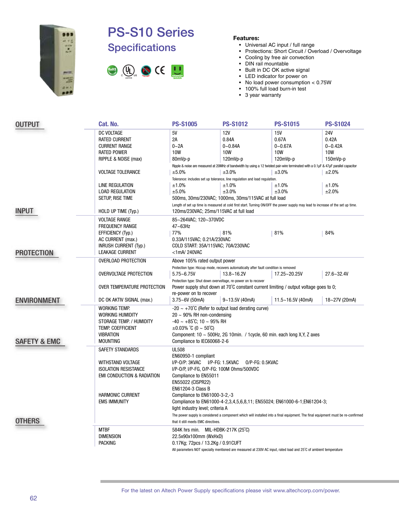 Specification Sheet Power Supply Built In Emi Filter With Overload Short Circuit