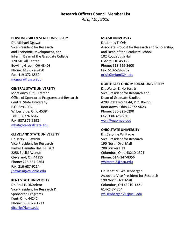 Membership List - Ohio Board of Regents