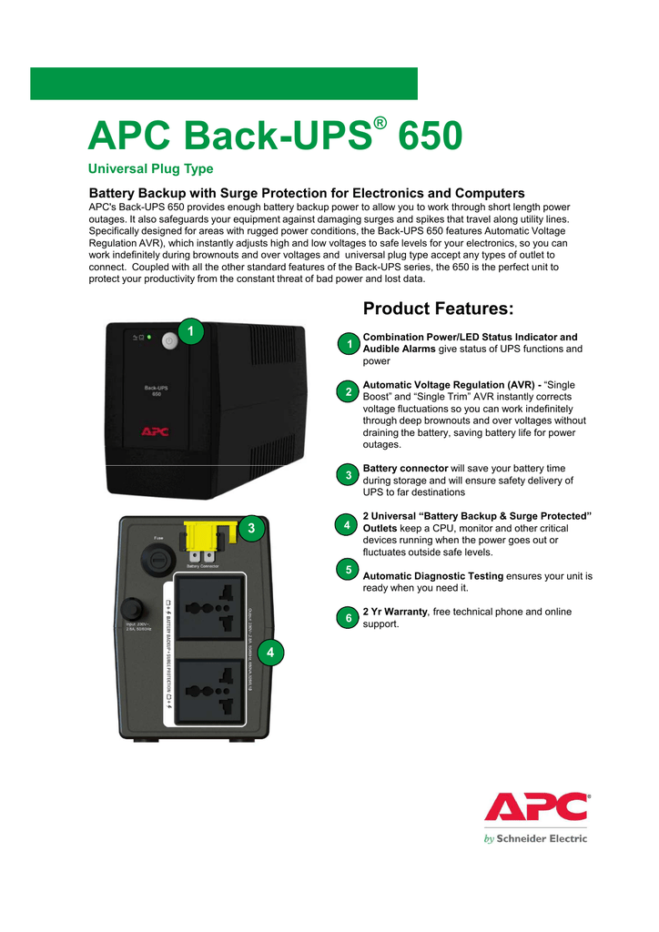 APC Back-UPS 650 - Schneider Electric