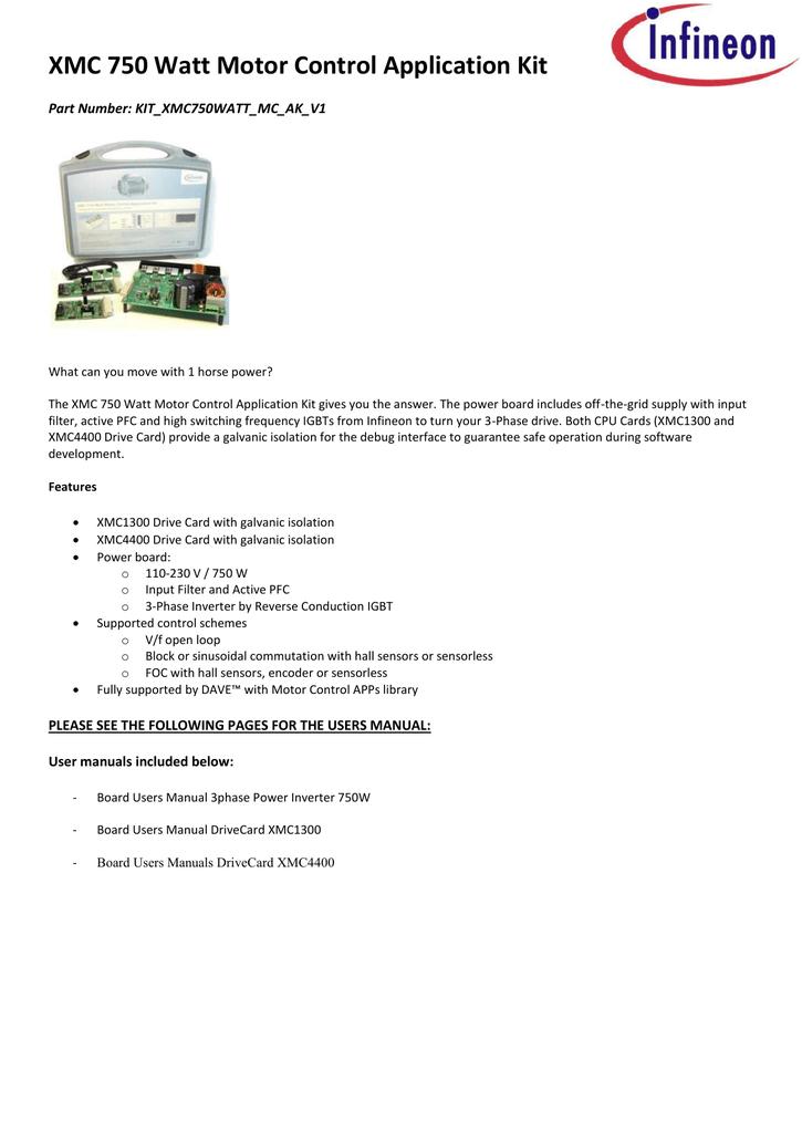 XMC 750 Watt Motor Control Application Kit