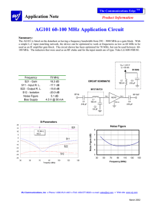 WJ AG101 70 MHz IF Amplifier Application Note