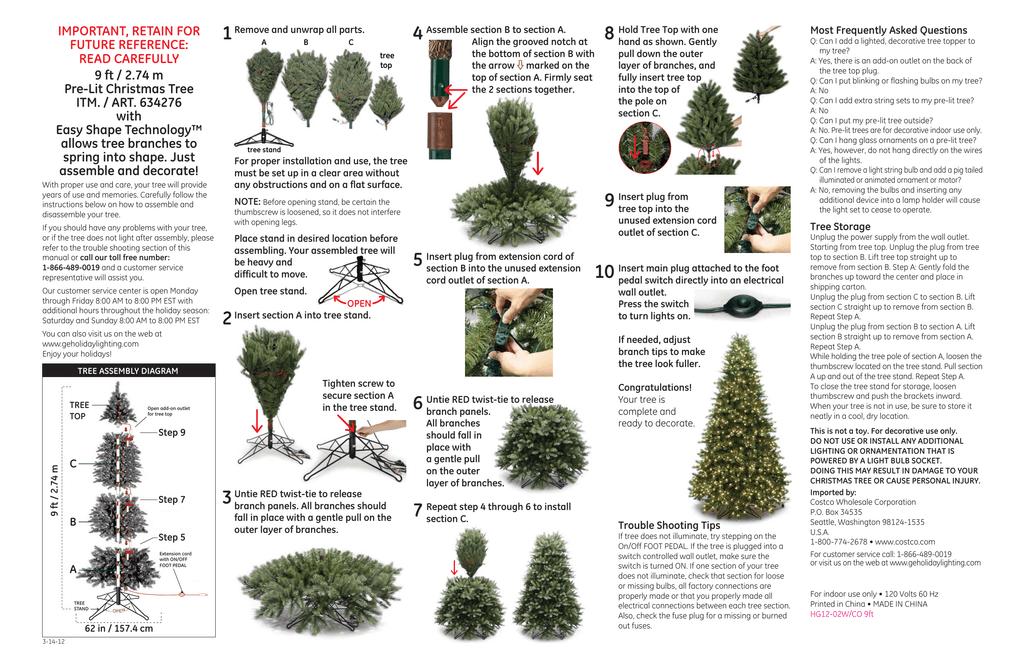 634276 9ft easy shape prelit tree instructions 313ai