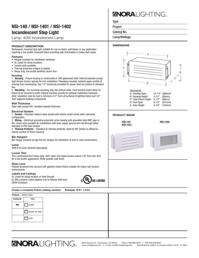 Nsi 140 1401 1402 Incandescent Step Light Fixture Wiring 2 White Black