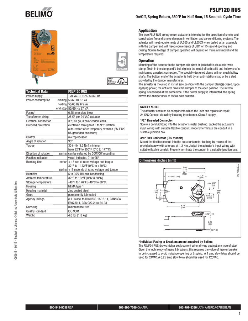 fslf120 rus, on off, spring return, 350�f for half hour Lock Actuator Wiring Diagram