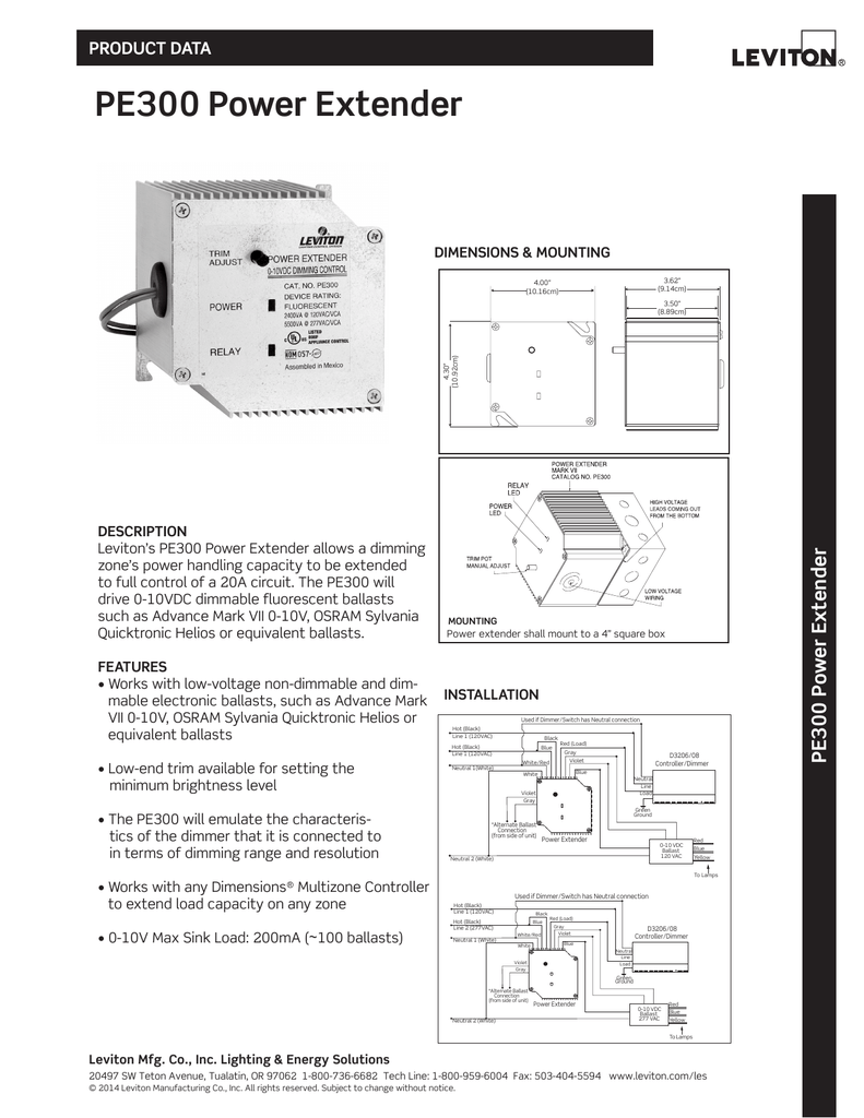 Leviton Pe300 D0w Specifications Data Sheet Dimmable Electronic Ballast Circuit Dimming Feature Included