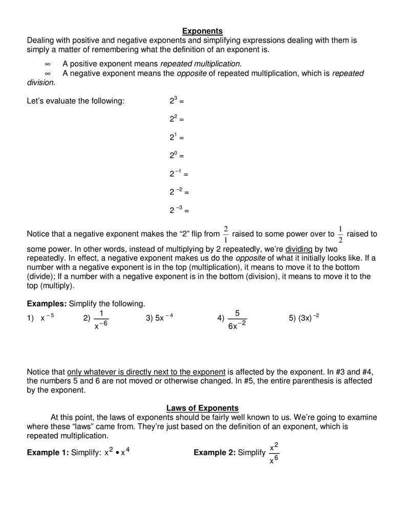 negative indices definition