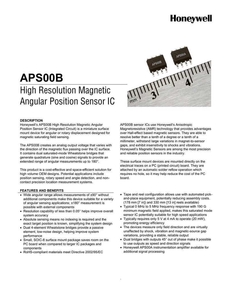 Aps00b Honeywell Sensing And Control Halleffect Integrated Circuit Ic Sensors