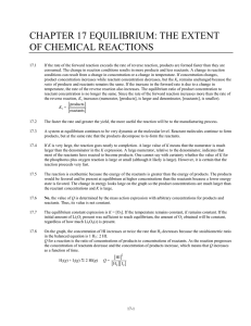CHAPTER 17 EQUILIBRIUM: THE EXTENT OF CHEMICAL