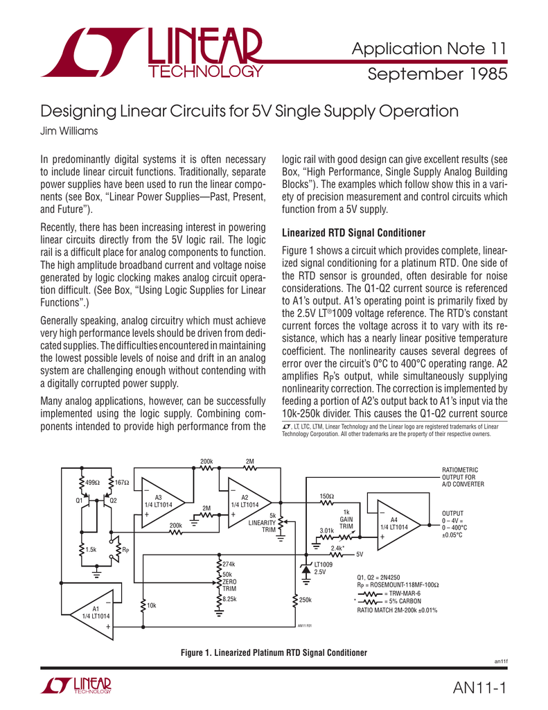 An11 Designing Linear Circuits For 5v Single Supply Operation Type K Thermocouple Signal Conditioning Amplifier With