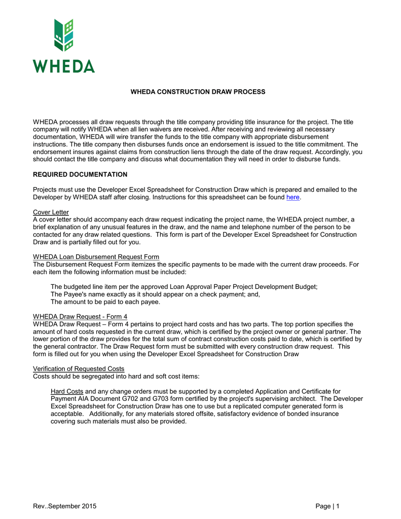 5/97 WHEDA CONSTRUCTION DRAW PROCESS