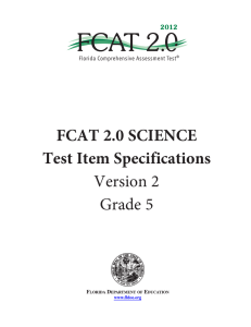 FCAT 2 0 SCIENCE Test Item Specifications