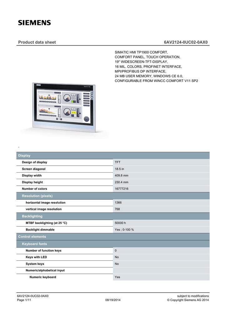 Product data sheet 6AV2124-0UC02-0AX0