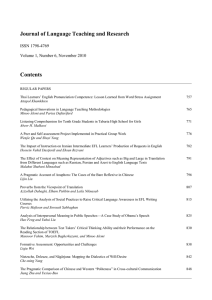 Journal of Language Teaching and Research Contents