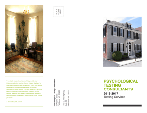 to our brochure... - Psychological Testing Consultants