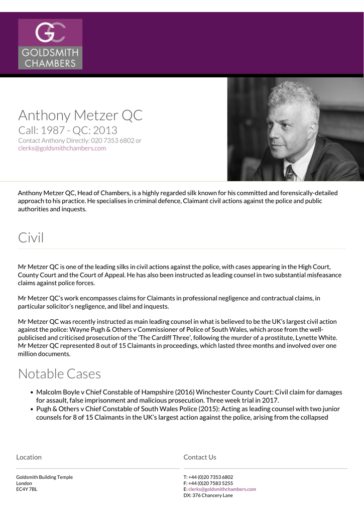 Anthony Metzer QC - Goldsmith Chambers