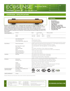 EcoSpec® Linear INT Warm Cove Low Power Specification Sheet