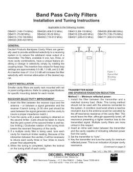 Installation and Tuning Instructions for DB Band Pass Cavity Filters