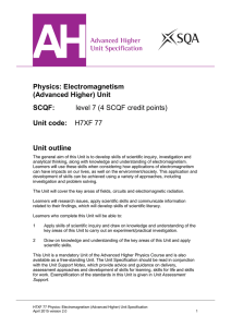 Advanced Higher Physics: Electromagnetism Unit Specification