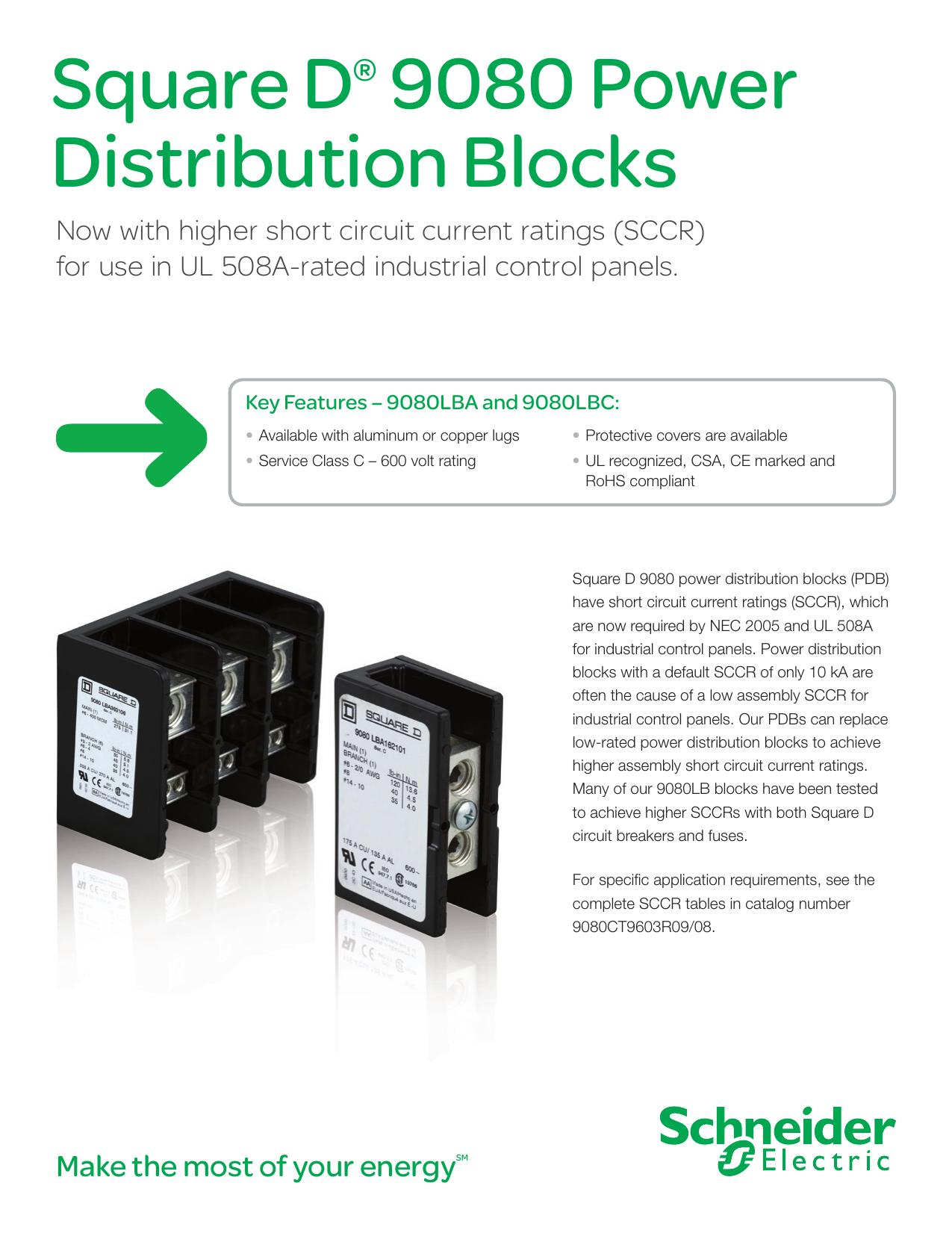 Square D® 9080 Power Distribution Blocks