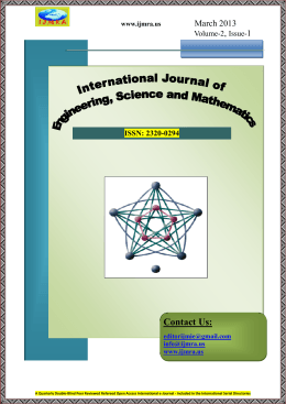 Contact Us: - International Journals of Multidisciplinary Research