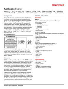 Application Note, PX2 Series and PX3 Series Heavy Duty Pressure