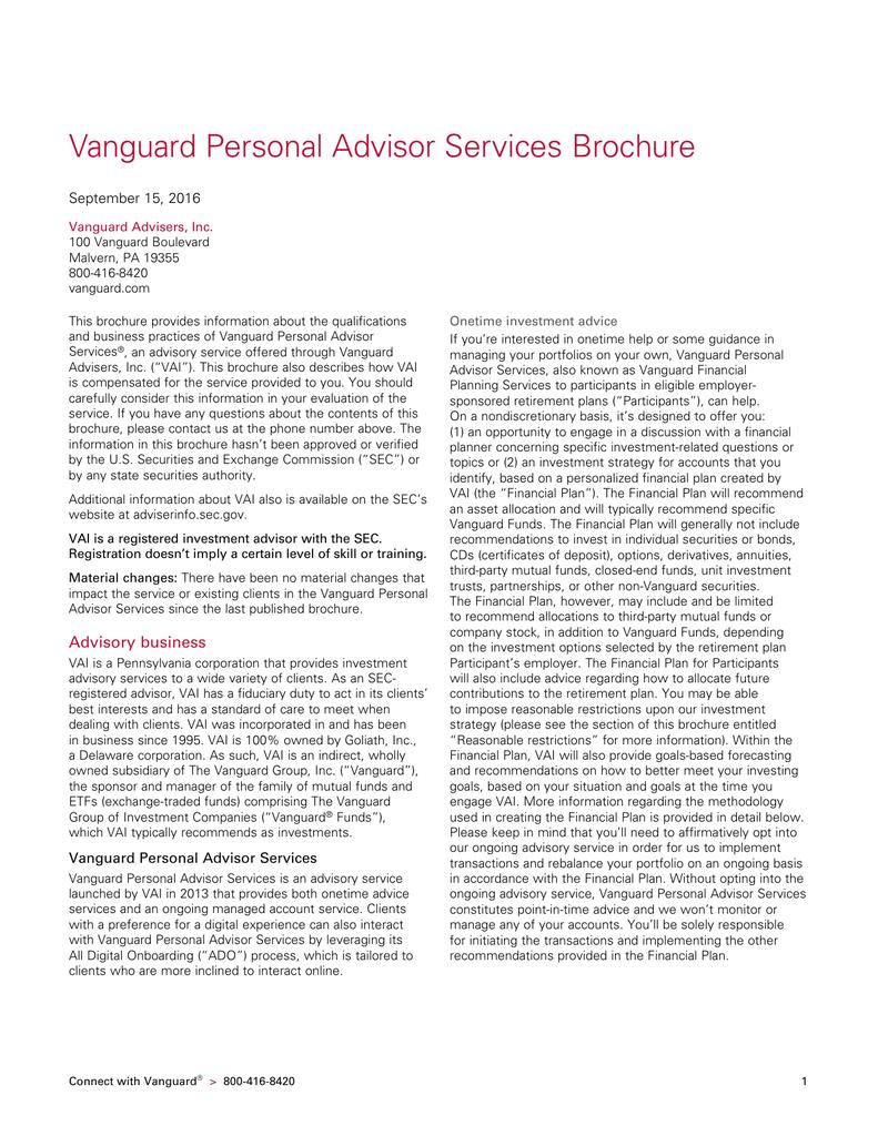Vanguard Personal Advisor Services Brochure