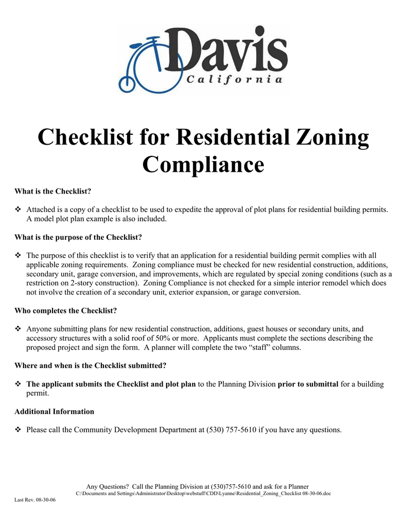 Checklist for Residential Zoning Compliance