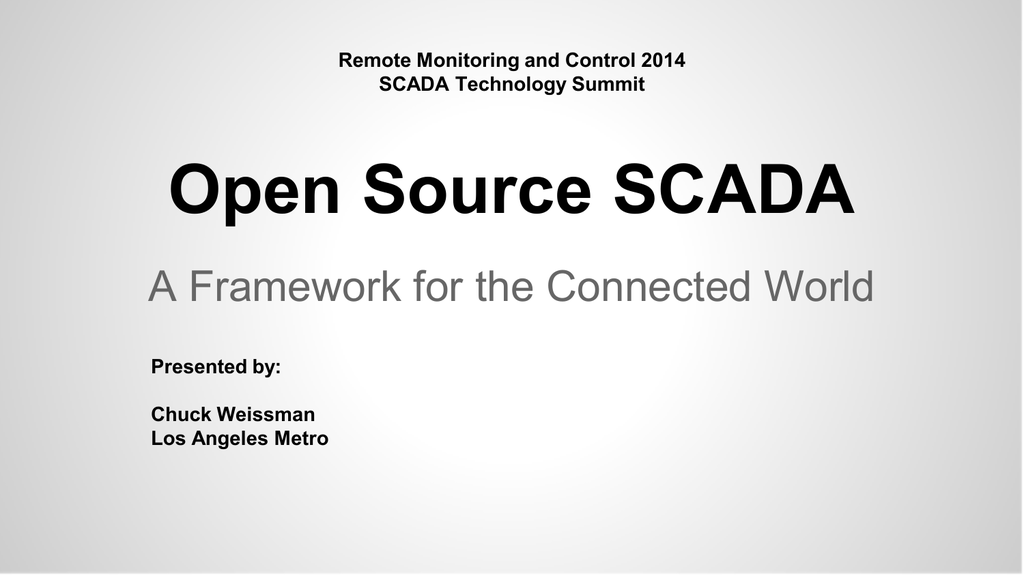 Open Source SCADA - Remote Site and Equipment Management