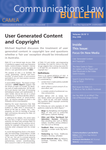 User Generated Content and Copyright