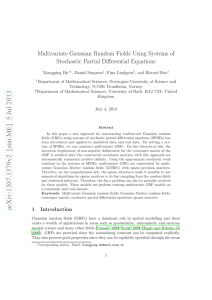 Multivariate Gaussian Random Fields Using Systems of Stochastic