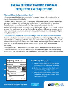 ENERGY EFFICIENT LIGHTING PROGRAM FREQUENTLY ASKED
