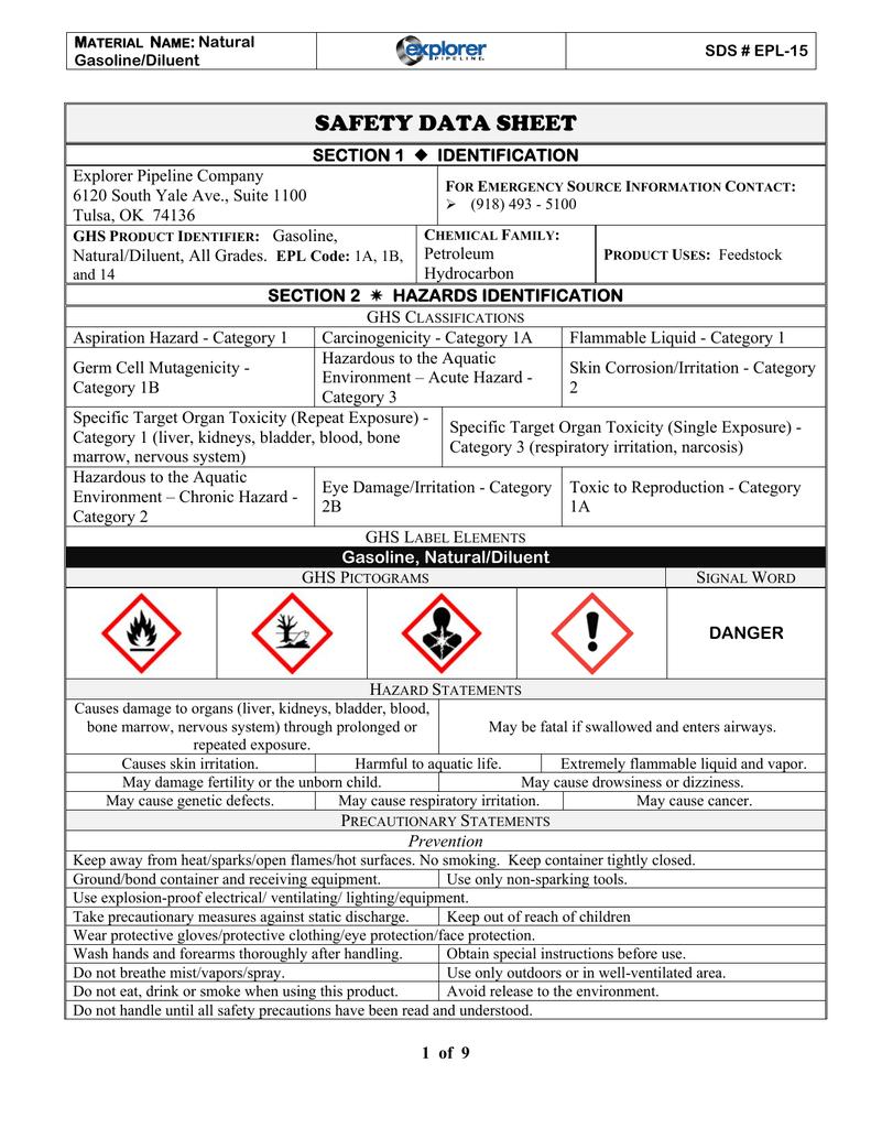 Natural Gas Safety Data Sheet