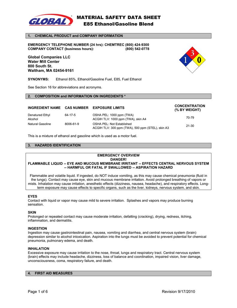 Material Safety Data Sheet E85 Ethanol Gasoline