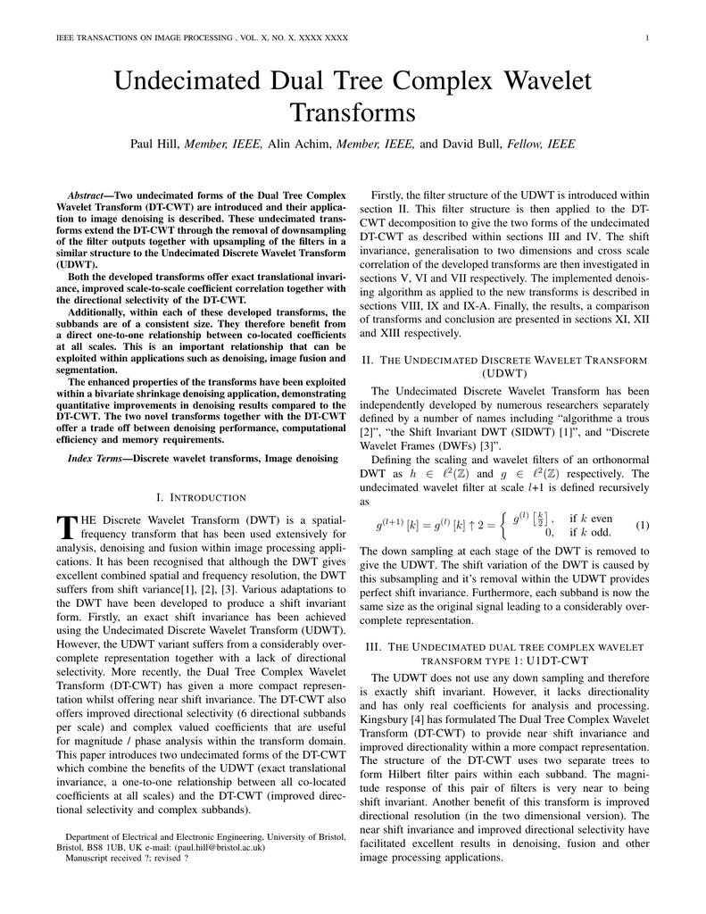 Undecimated Dual Tree Complex Wavelet Transforms