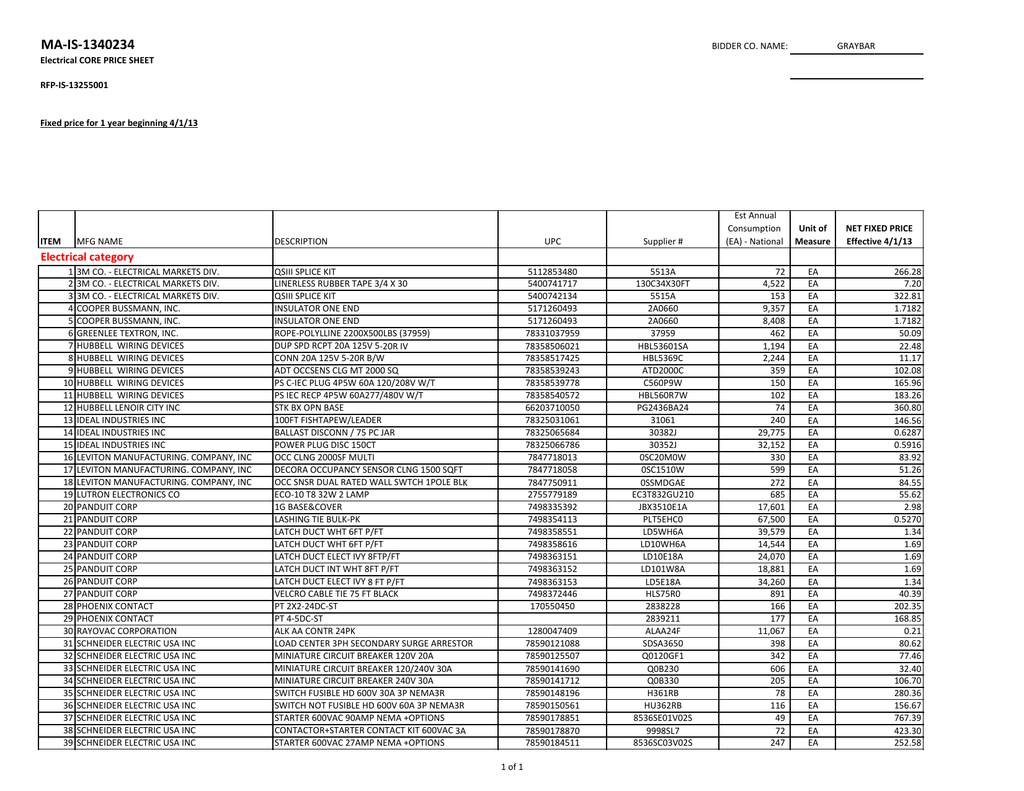 Ma Is 1340234 Core List National Graybar 3xlsx Dazor Lamp Wiring Diagram