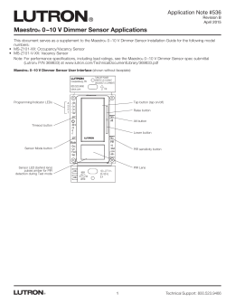 Maestro 0-10 V Dimmer Sensor Applications APP NOTE