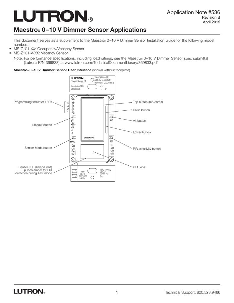Maestro 0-10 V Dimmer Sensor Applications APP NOTE on