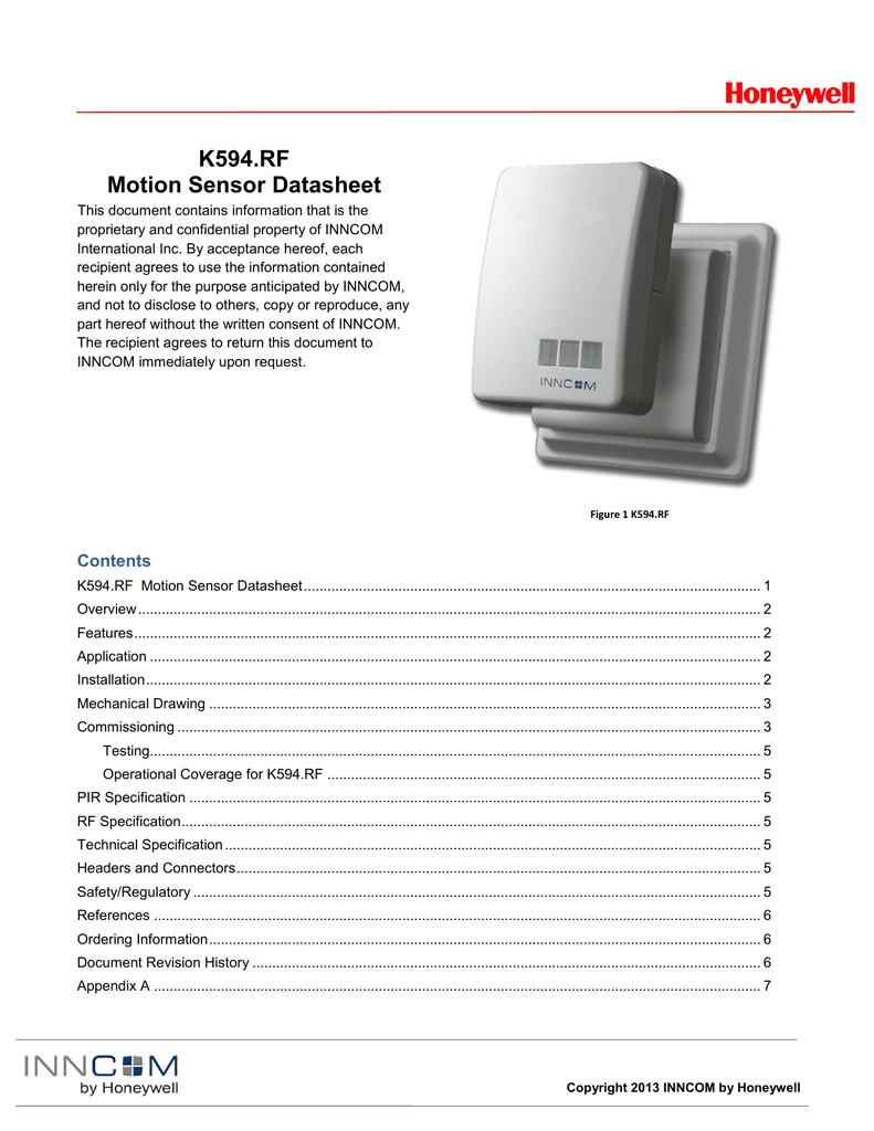 K594rf Motion Sensor Datasheet Inncom Room Wiring Diagram