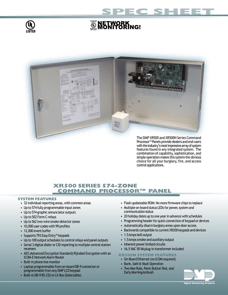 spec sheet rh studylib net DMP Xr100fc dmp xr500 user manual