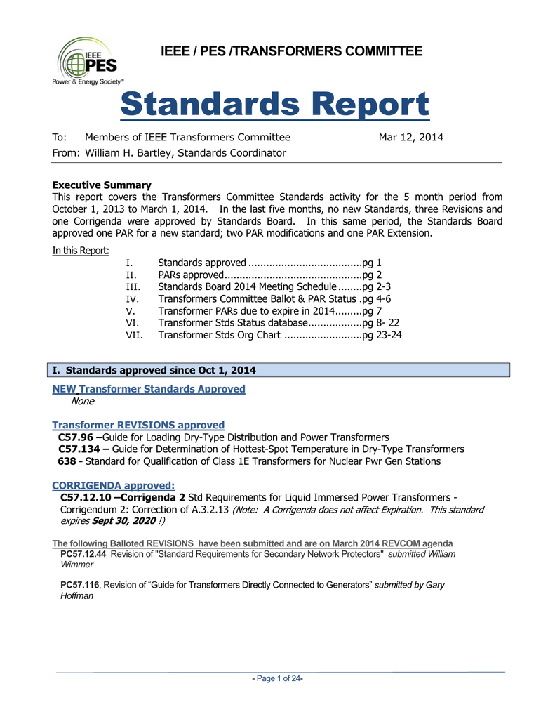 Standards Report - Transformers Committee