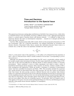 Time and decision: introduction to the special issue