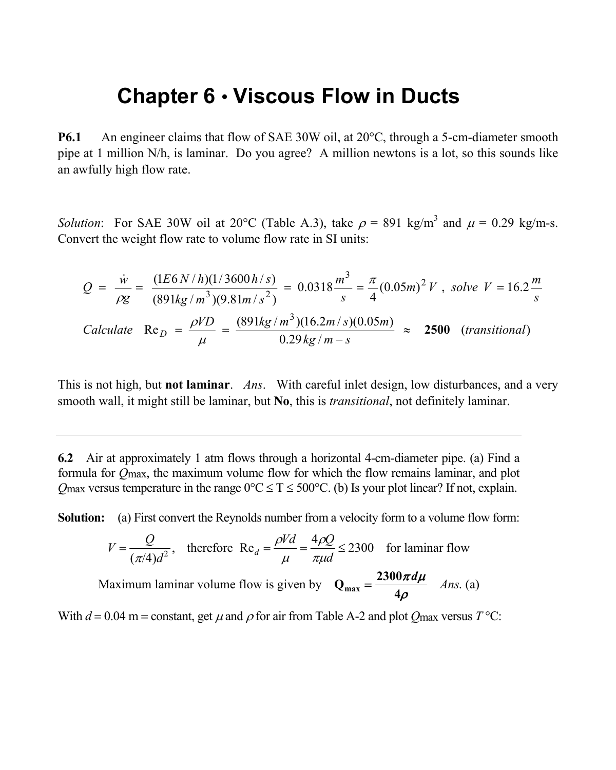 Chapter 6 • Viscous Flow in Ducts