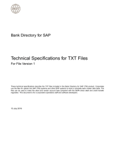 Bank Directory for SAP - Technical Specifications for TXT Files