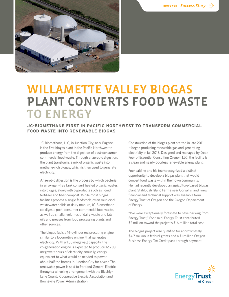 willamette valley biogas plant converts food waste to energy