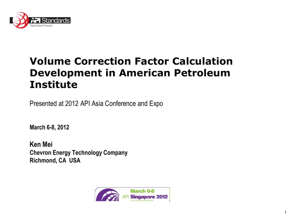 Volume Correction Factor Calculation - API