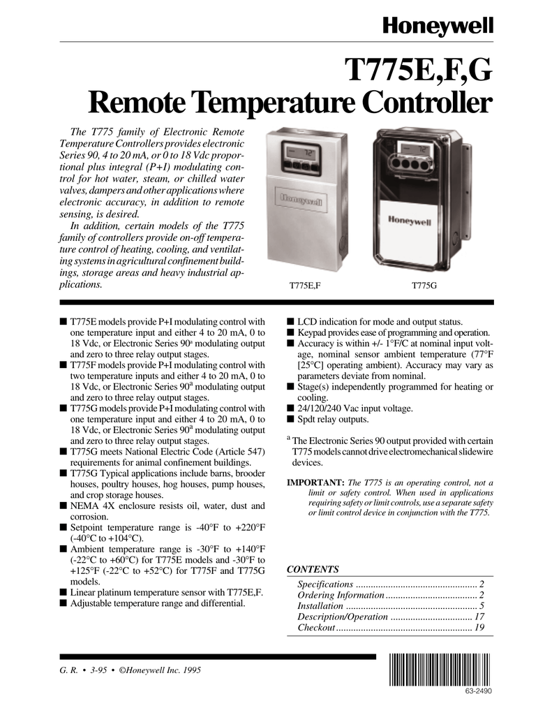 63 2490 t775e, f, g remote temperature controllerelectronic remote temperature controllers provides electronic series 90, 4 to 20 ma, or 0 to 18 vdc proportional plus integral (p i) modulating control