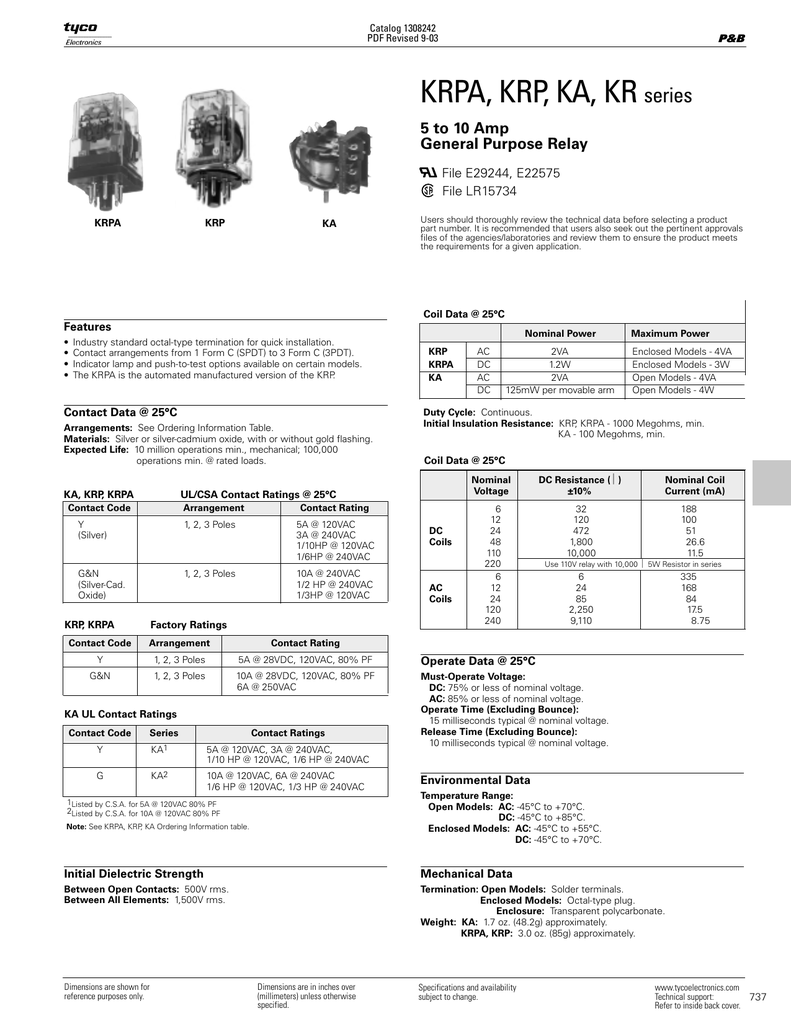 KRPA KRP KA Series Relay Catalog Pages - Krpa 11ag 120 wiring diagram