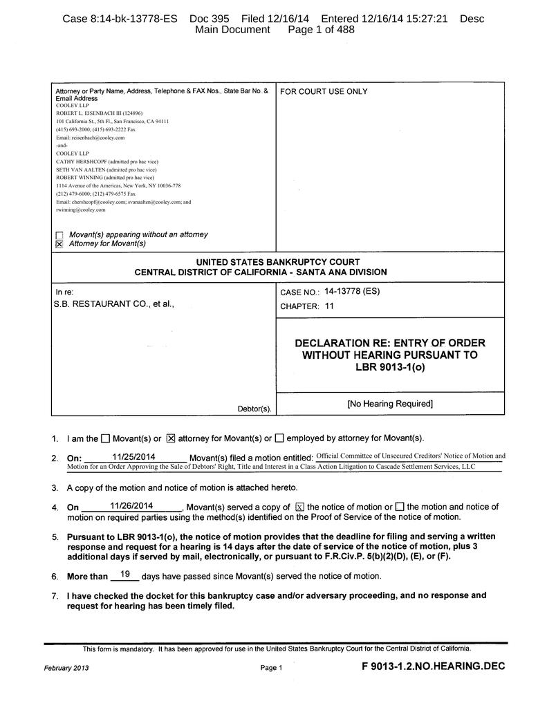 Case 8:14-bk-13778-ES Doc 395 Filed 12/16/14 Entered 12/16/14