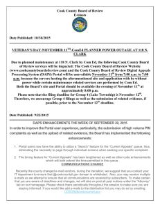 Cook County Board of Review E-blasts Date Published: 10/30/2015
