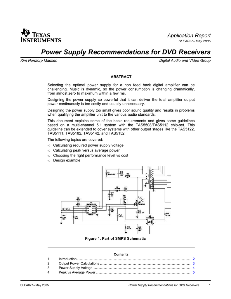 Power Supply Recommendations For Dvd Calculations Supplies